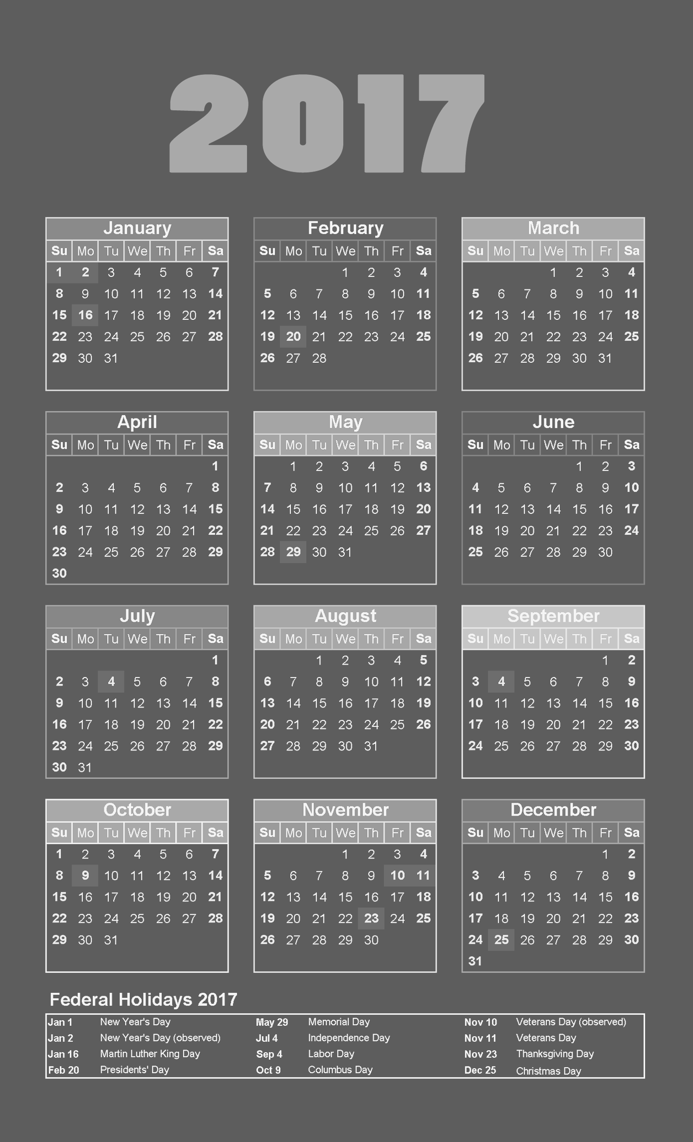 2017 calendar dark grey colour background