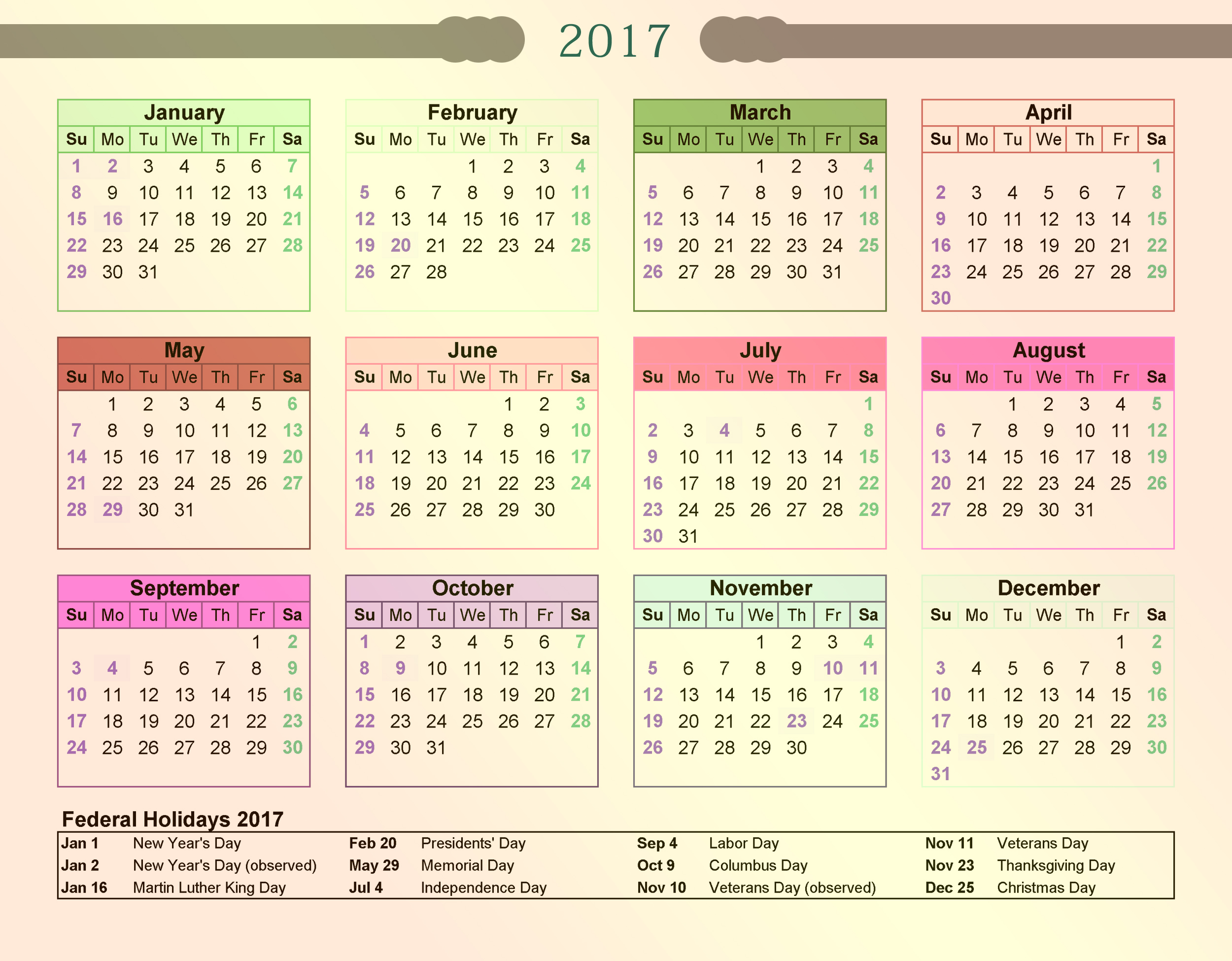 2017 calendar printable with federal holidays list