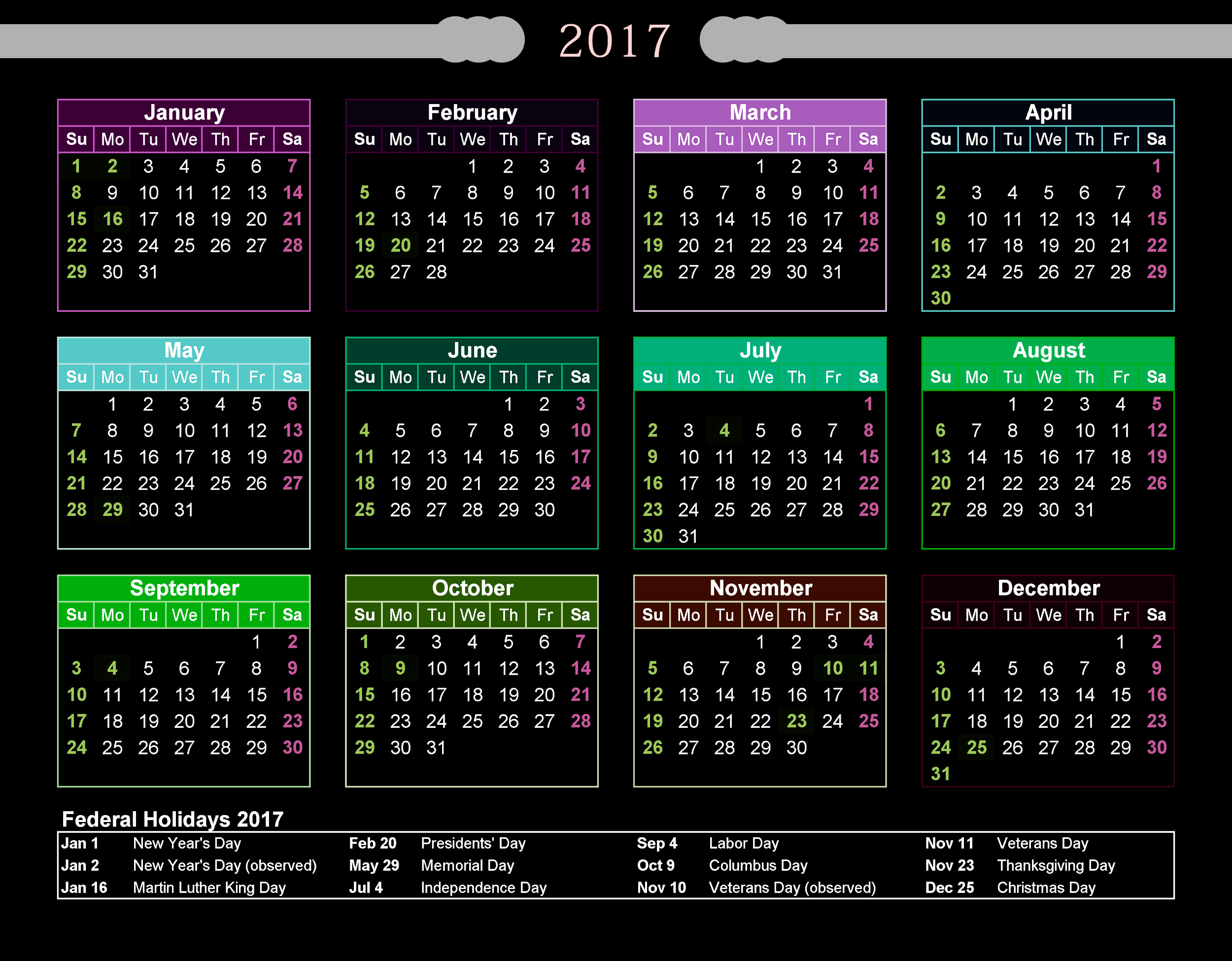 2017 calendar printable with federal holidays