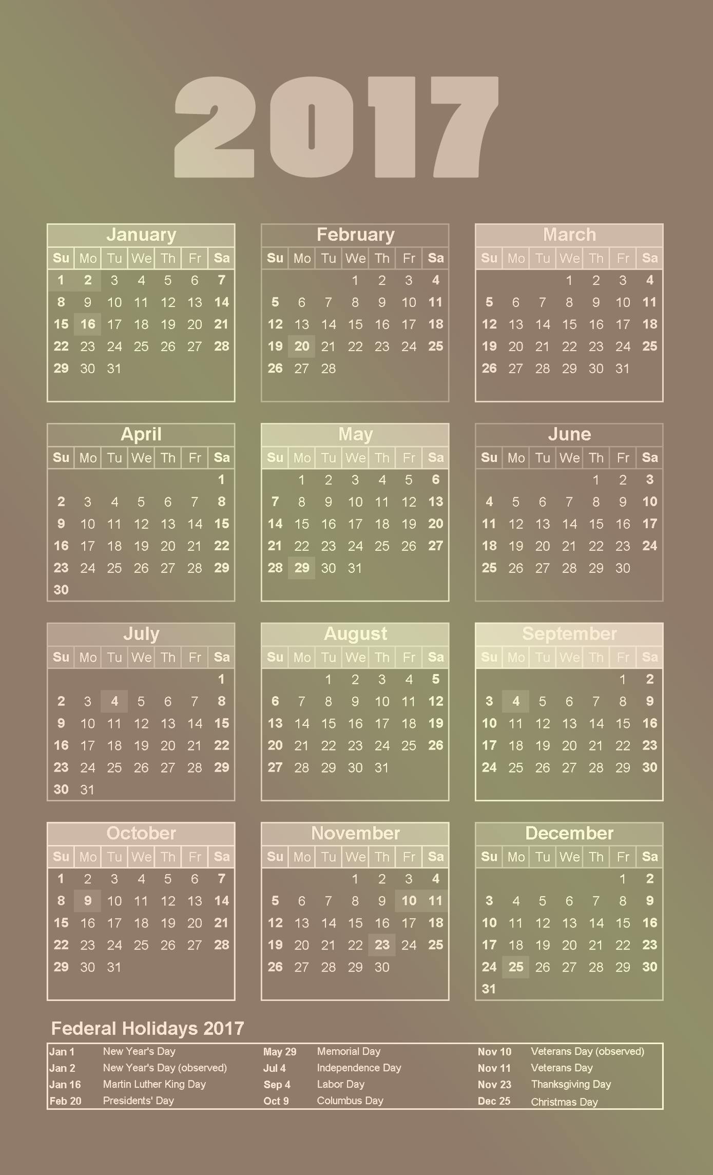 2017 calendar with gradient shades