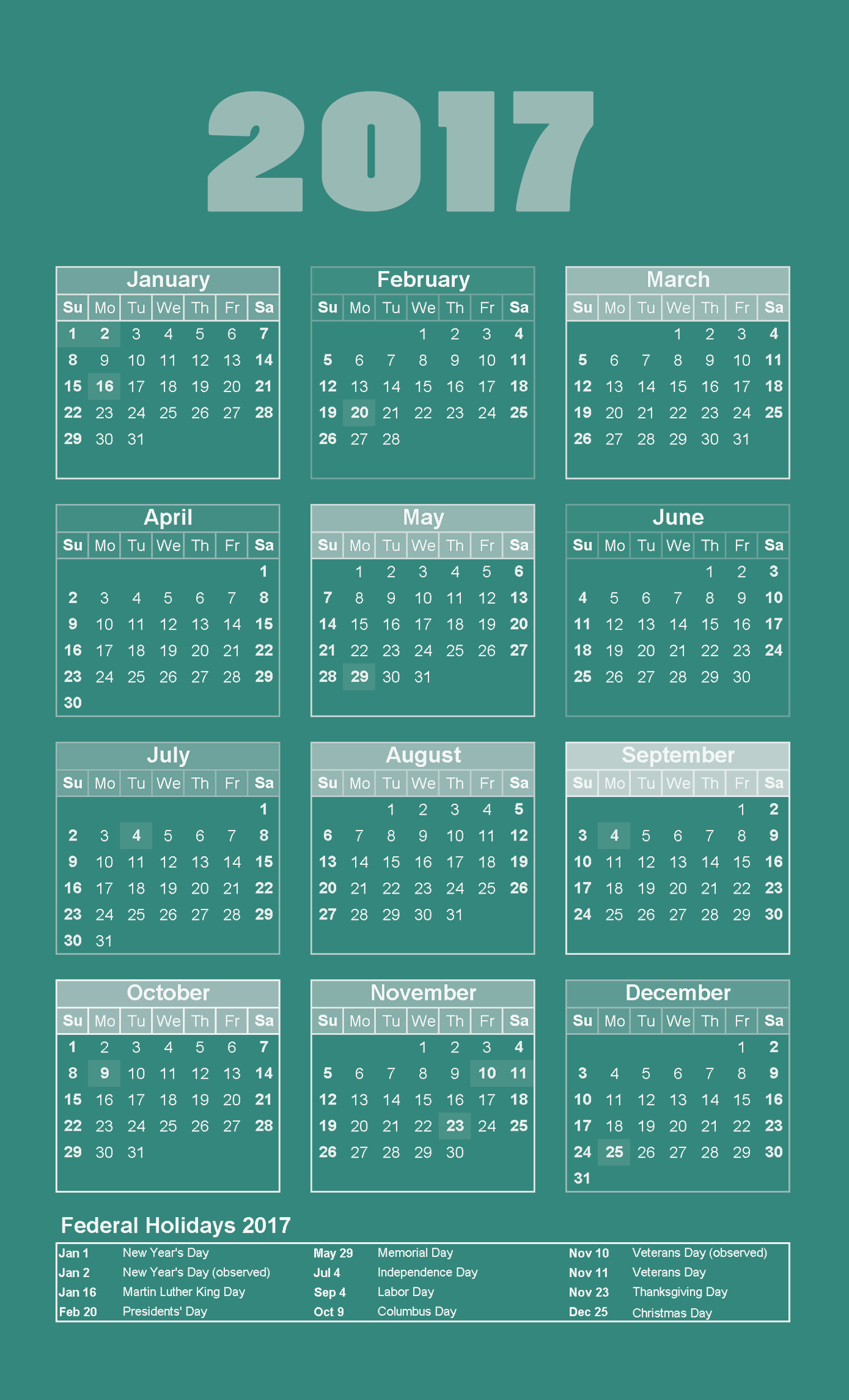 2017 calendar with holidays