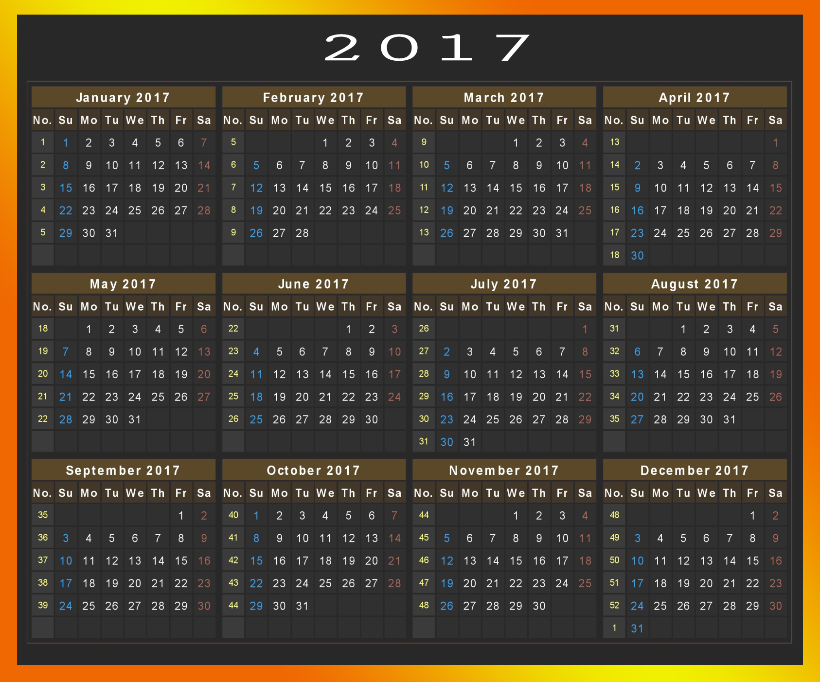 Download 2017 Calendar Printable