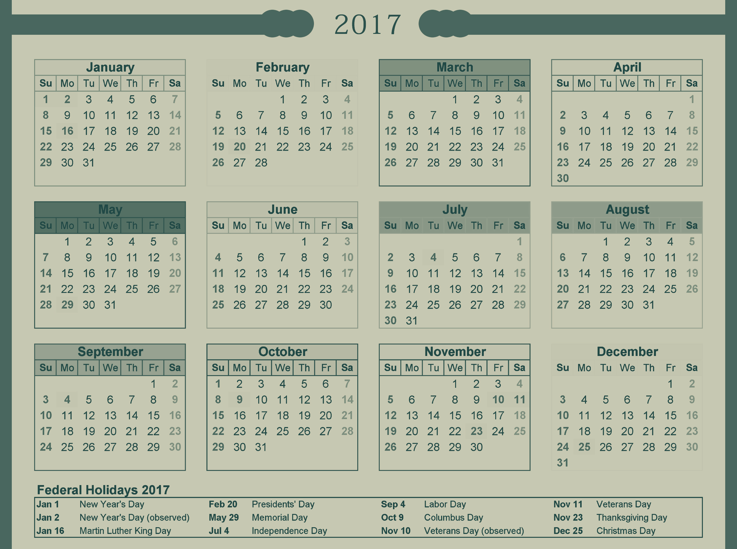 Download calendar 2017 with holidays list