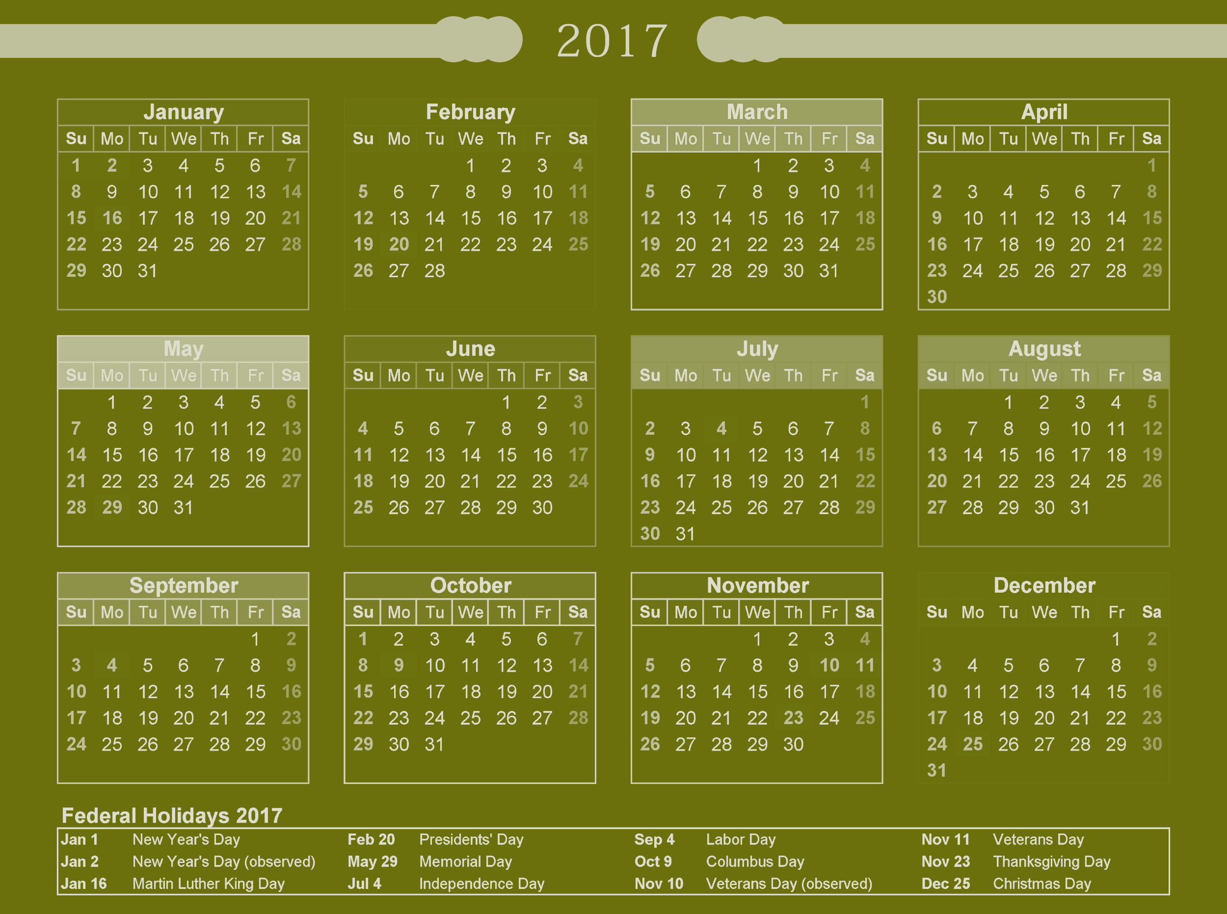 Download federal calendar 2017 usa