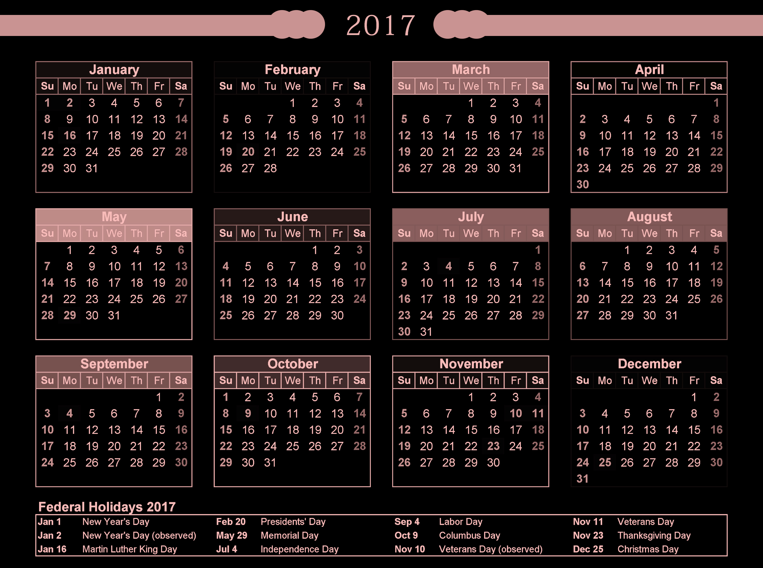 Federal holiday in usa 2017 calendar