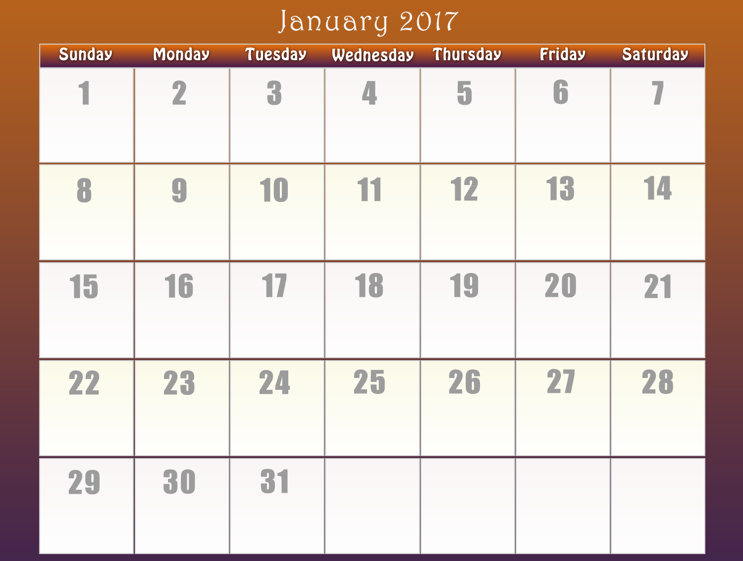 Calendar 2017 | Download Printable calendars of 2017 for free