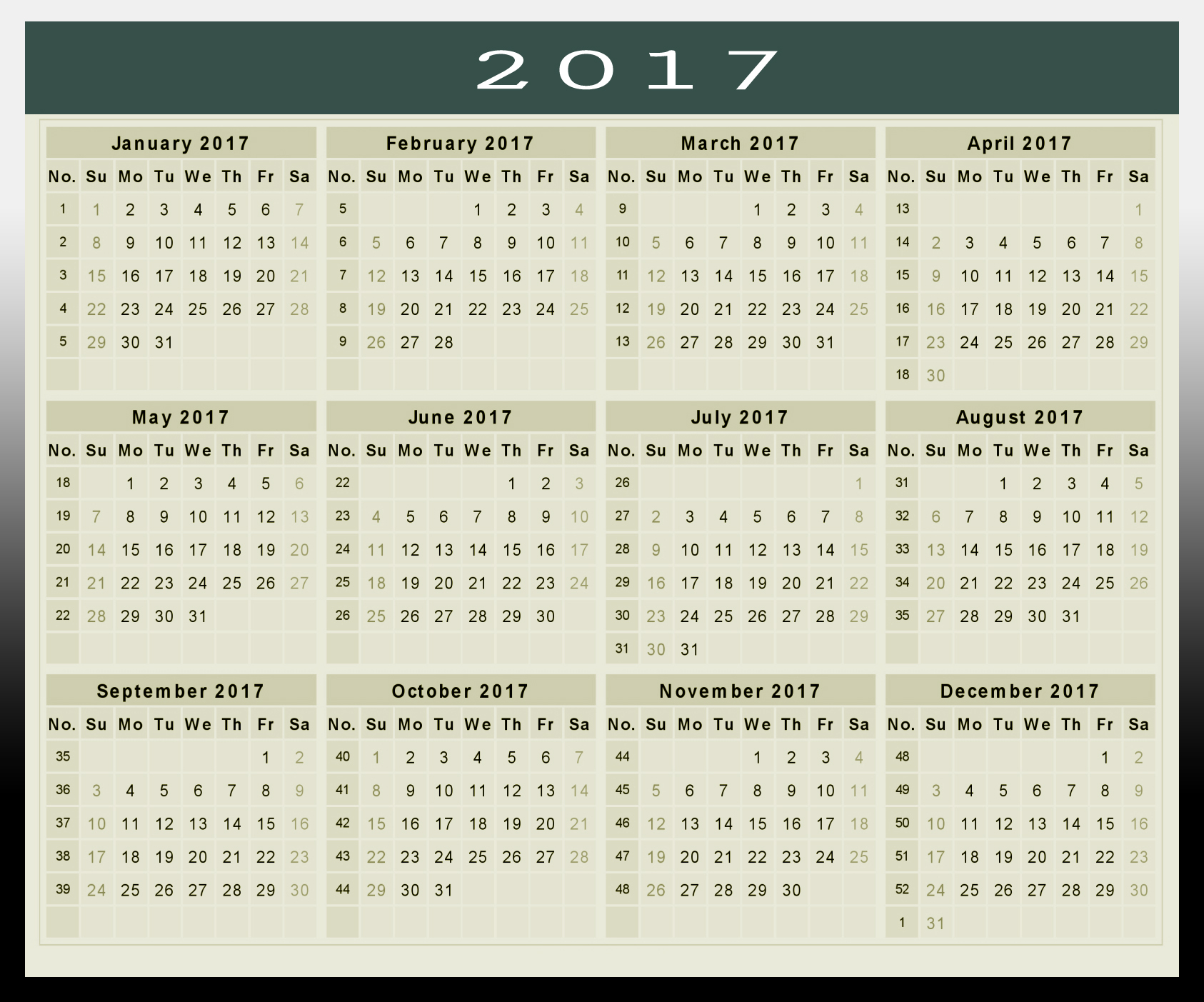 Printable 2017 Calendar Pictures to pin on Pinterest