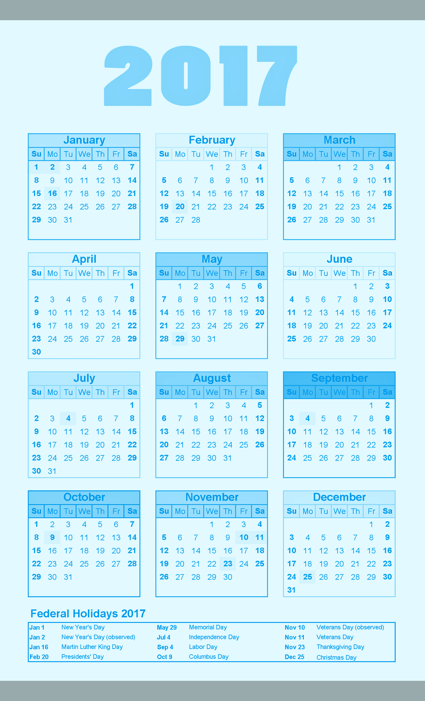 Printable Yearly calendar 2017 with holidays