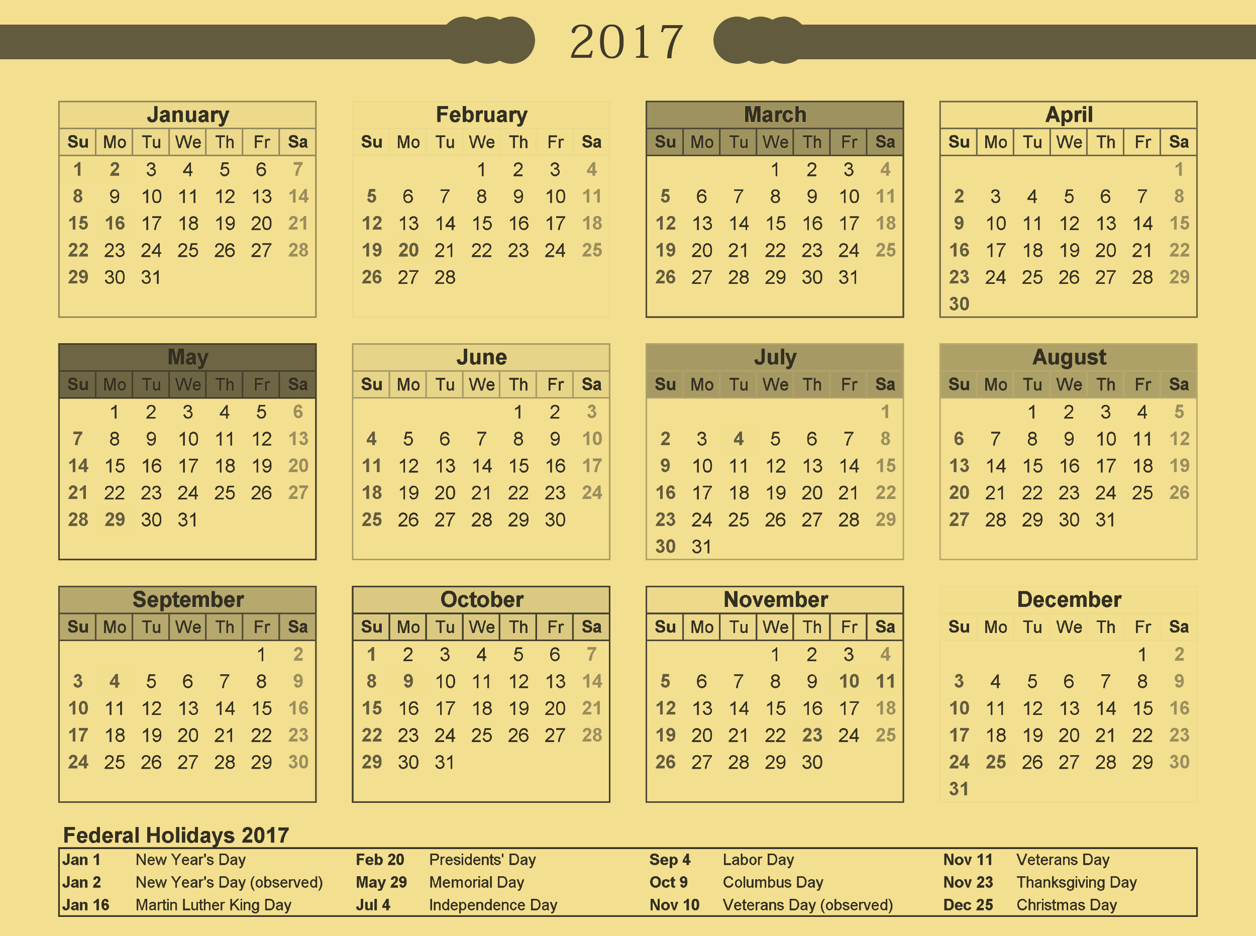 USA calendar 2017 with holiday list in PNG format