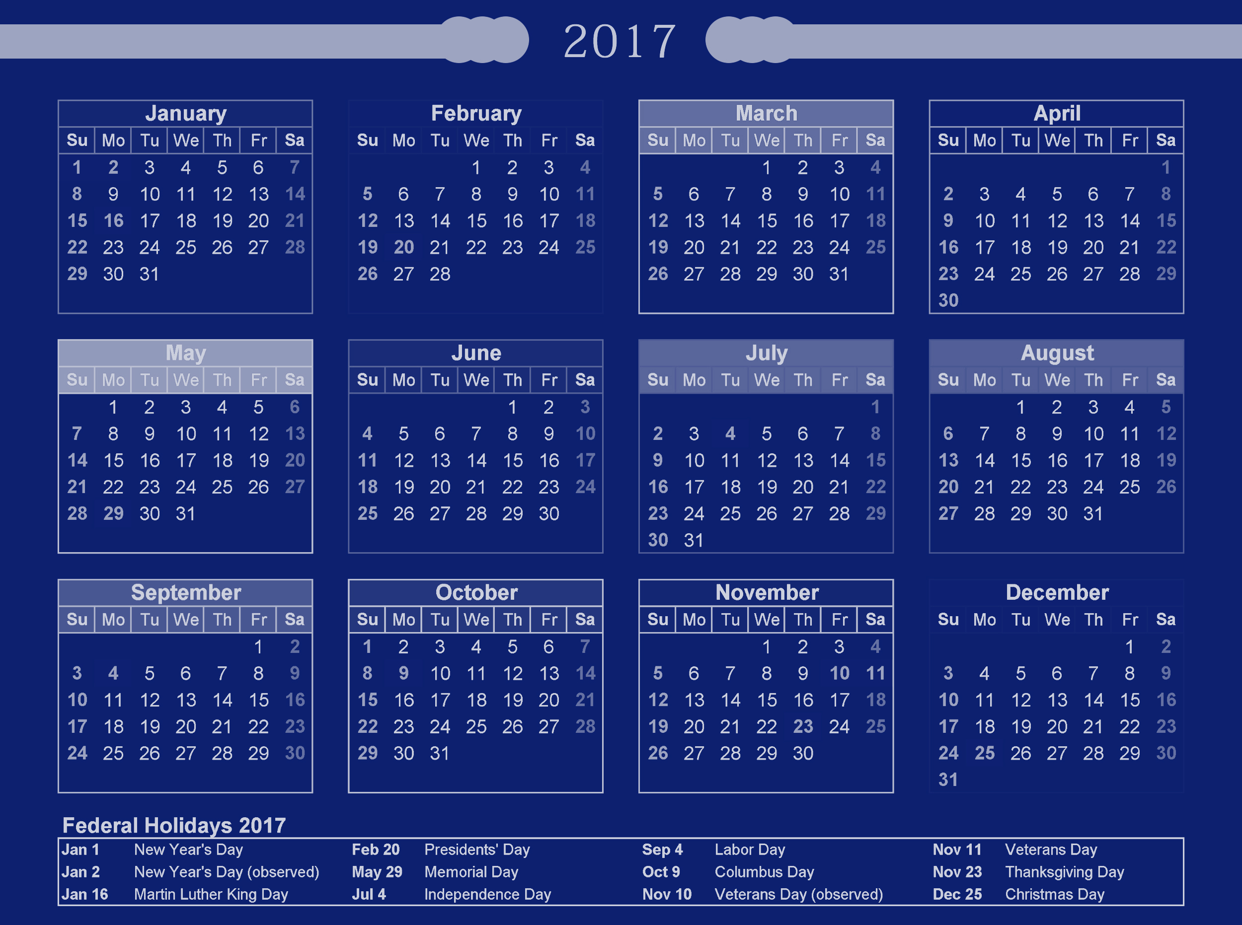 USA calendar 2017 with holiday list