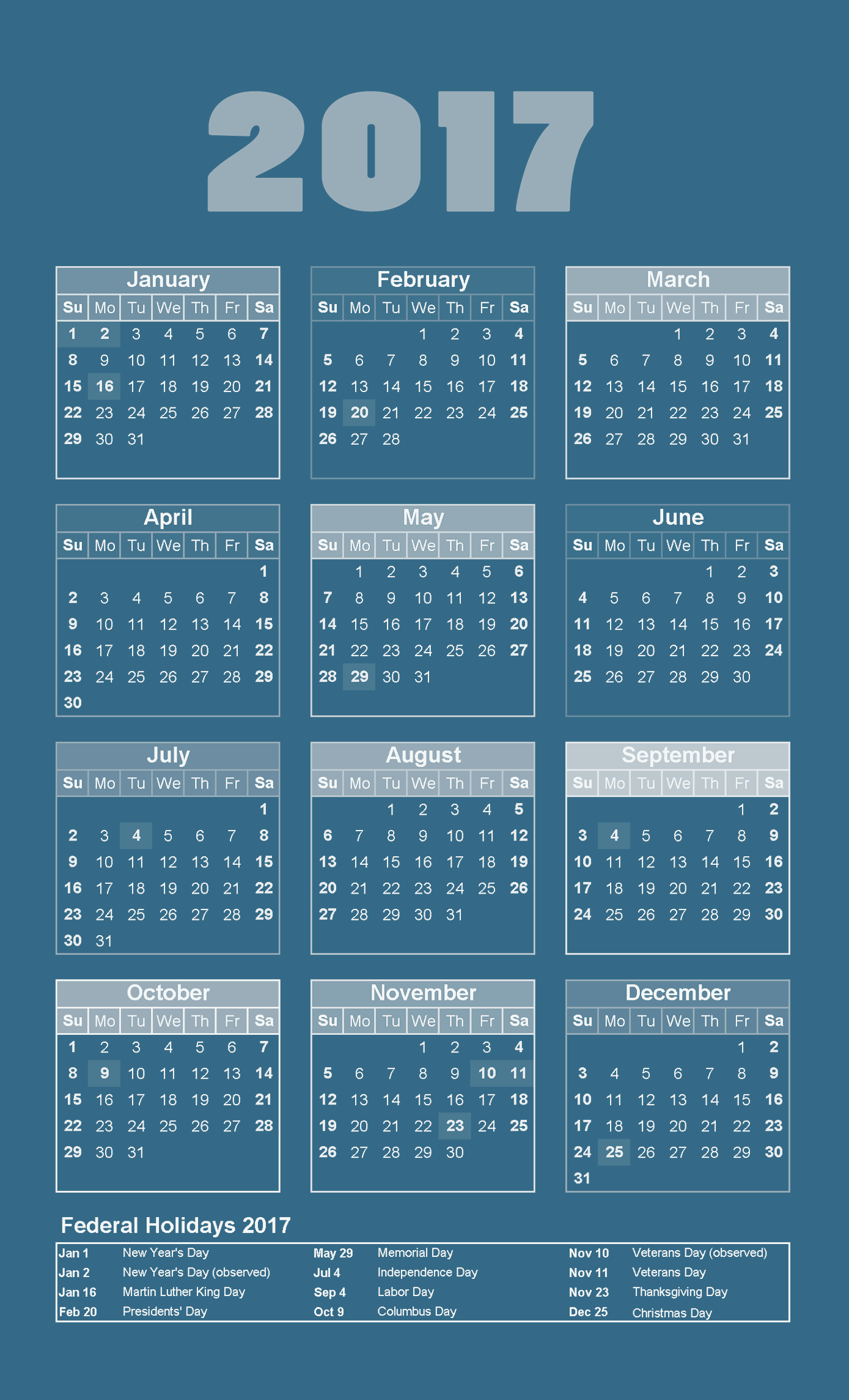 Yearly Calendar 2017 with holidays list