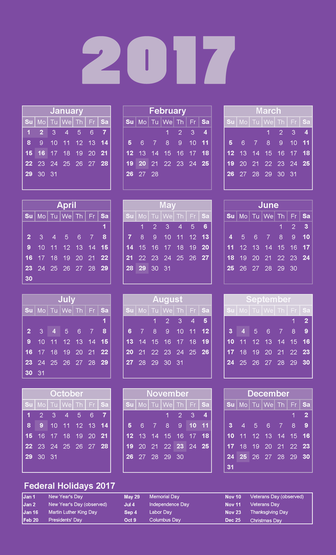 Yearly calendar 2017 with federal holidays