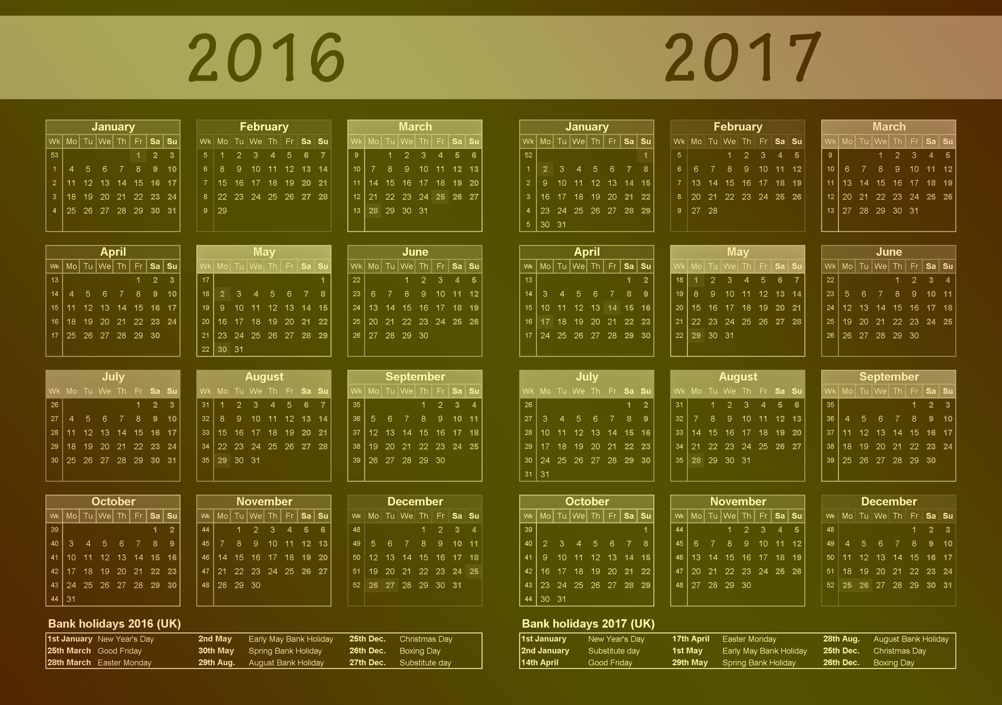 2016 2017 Calendar uk with bank holiday list