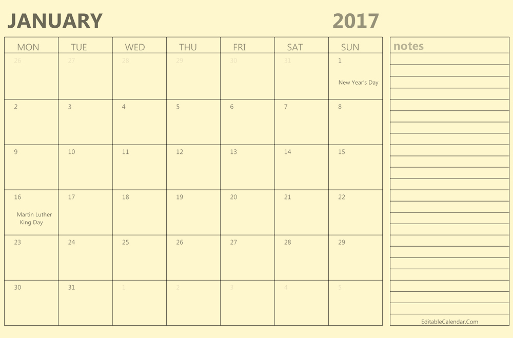 Download january 2017 calendar with notes