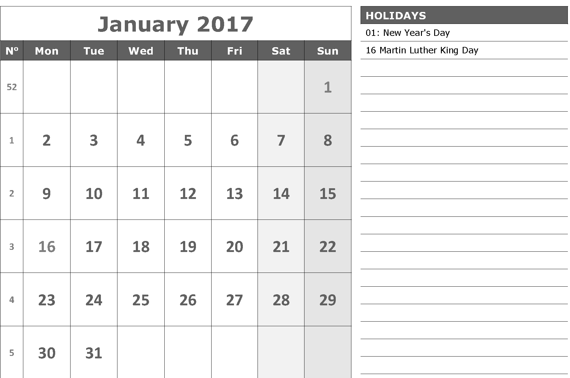 January 2017 calendar with notes