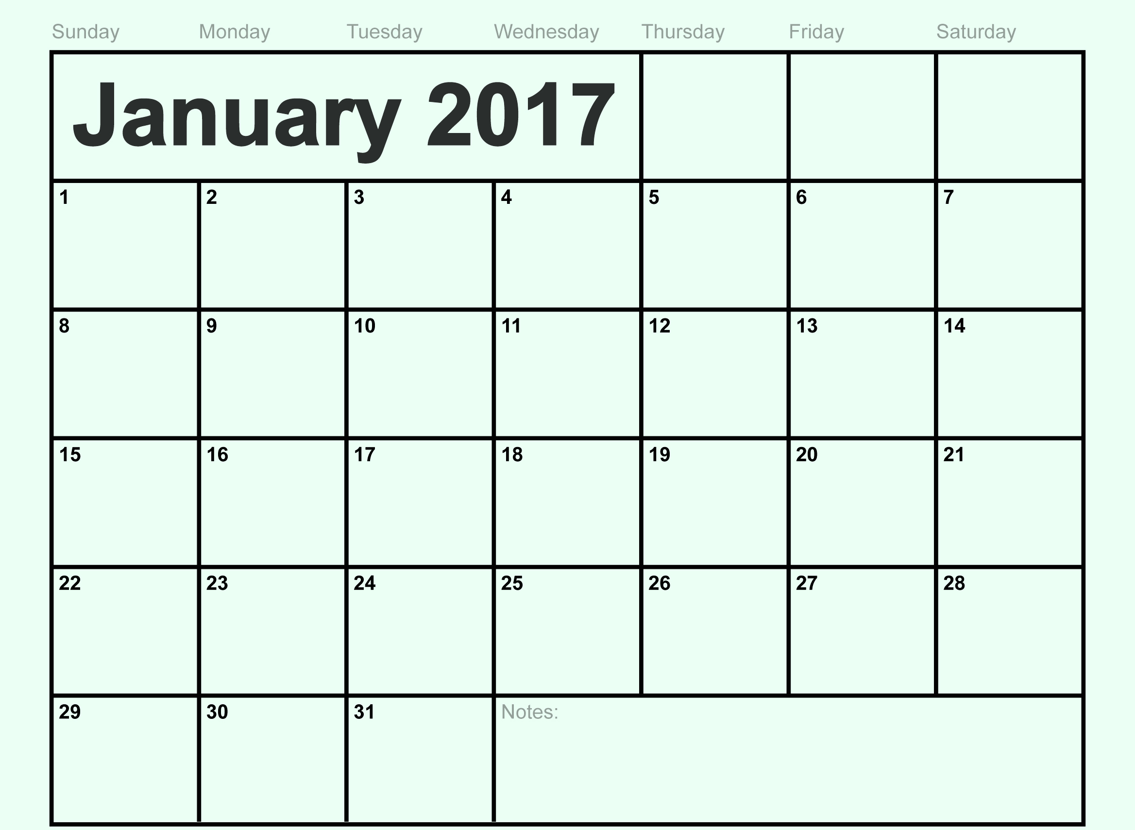 Printable january 2017 calendar with notes