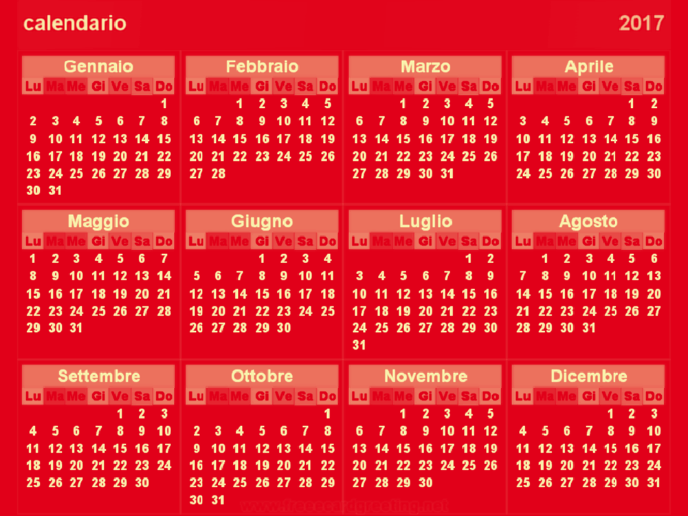 Calendario 2017 Red background