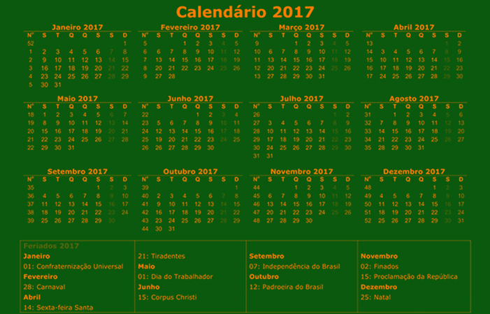 Calendario 2017 green background