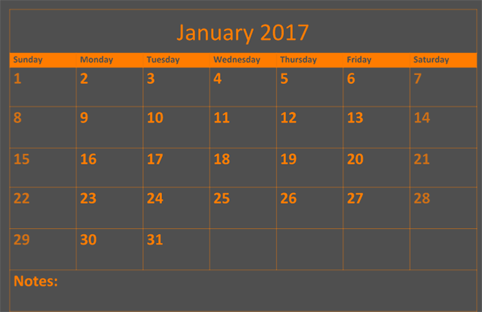 2017 January calendar download