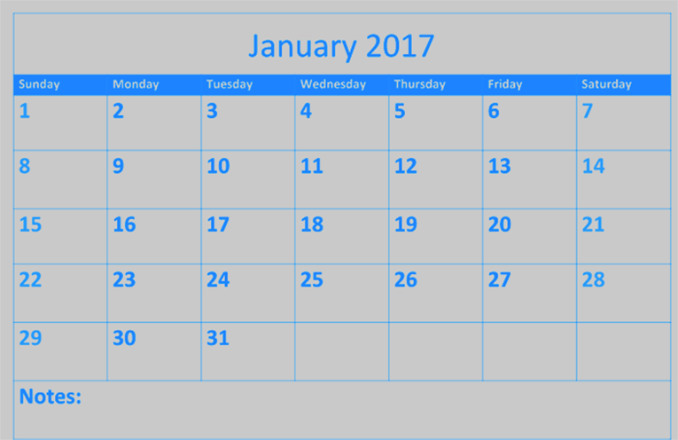 Free 2017 January calendar download