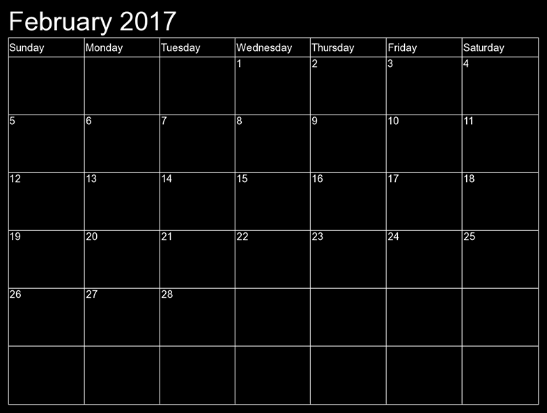 2017 february monthly calendar printable