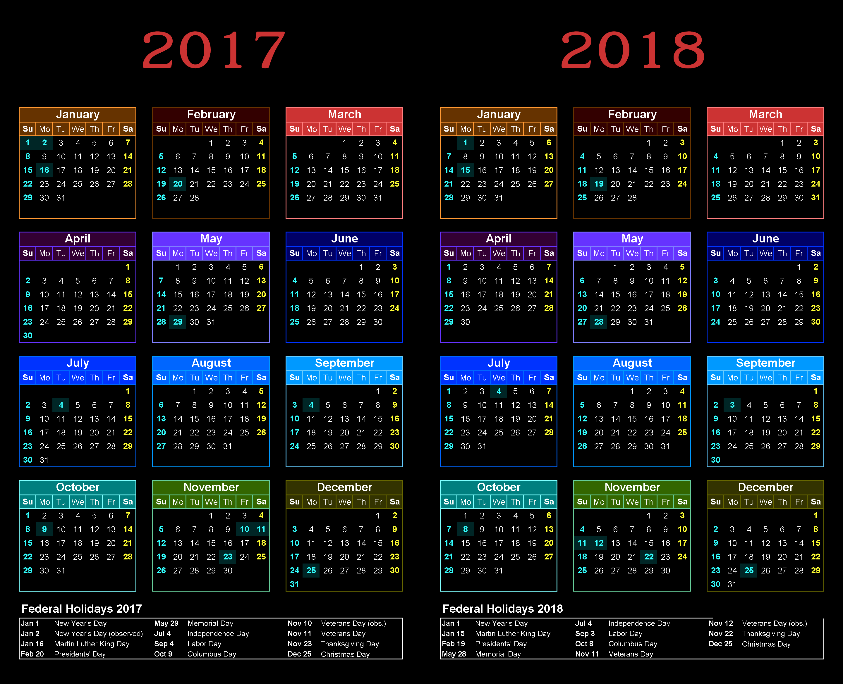 Download Calendar 2017 2018 with USA federal holidays list