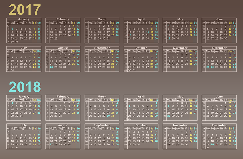 Desktop Calendar 2017 2018 with federal holidays list