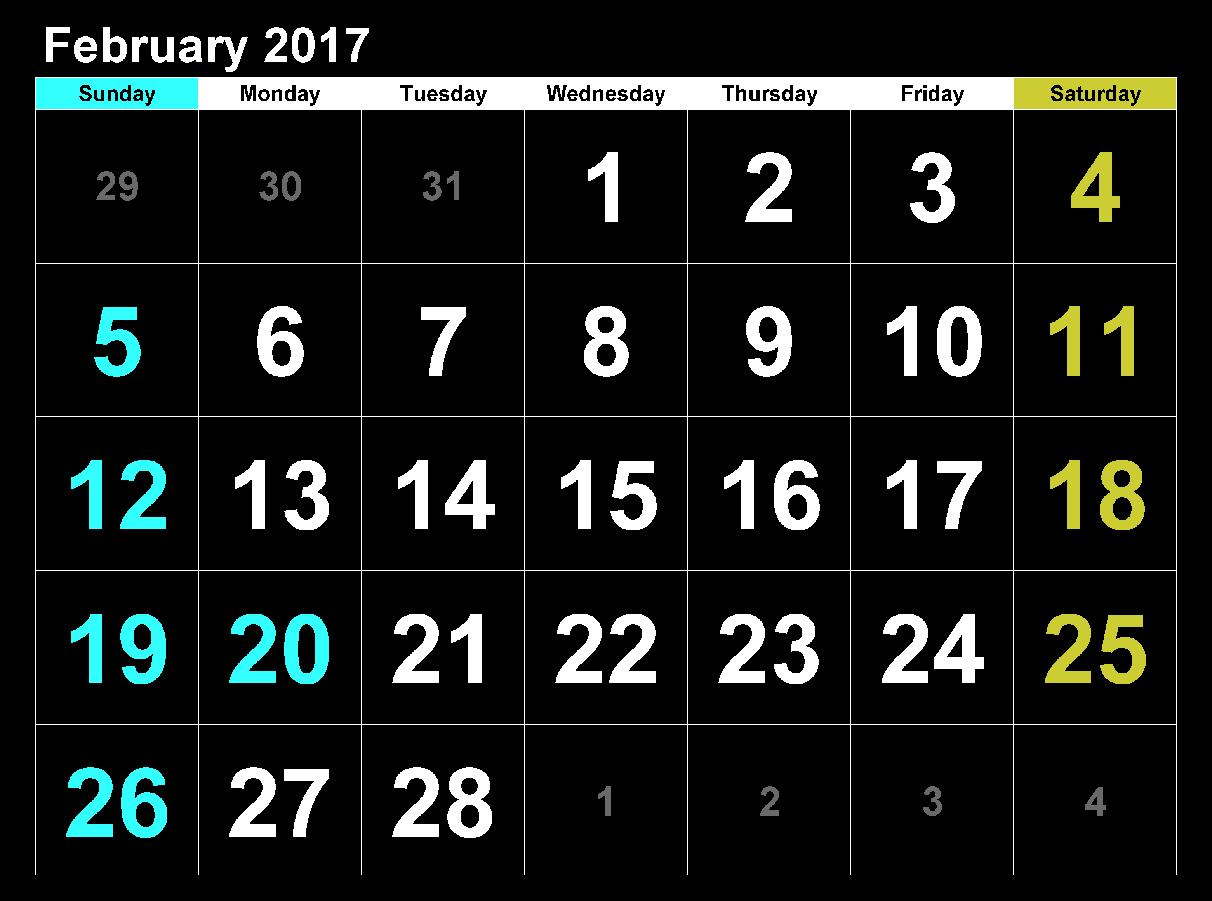 Download February 2017 calendar  with big dates