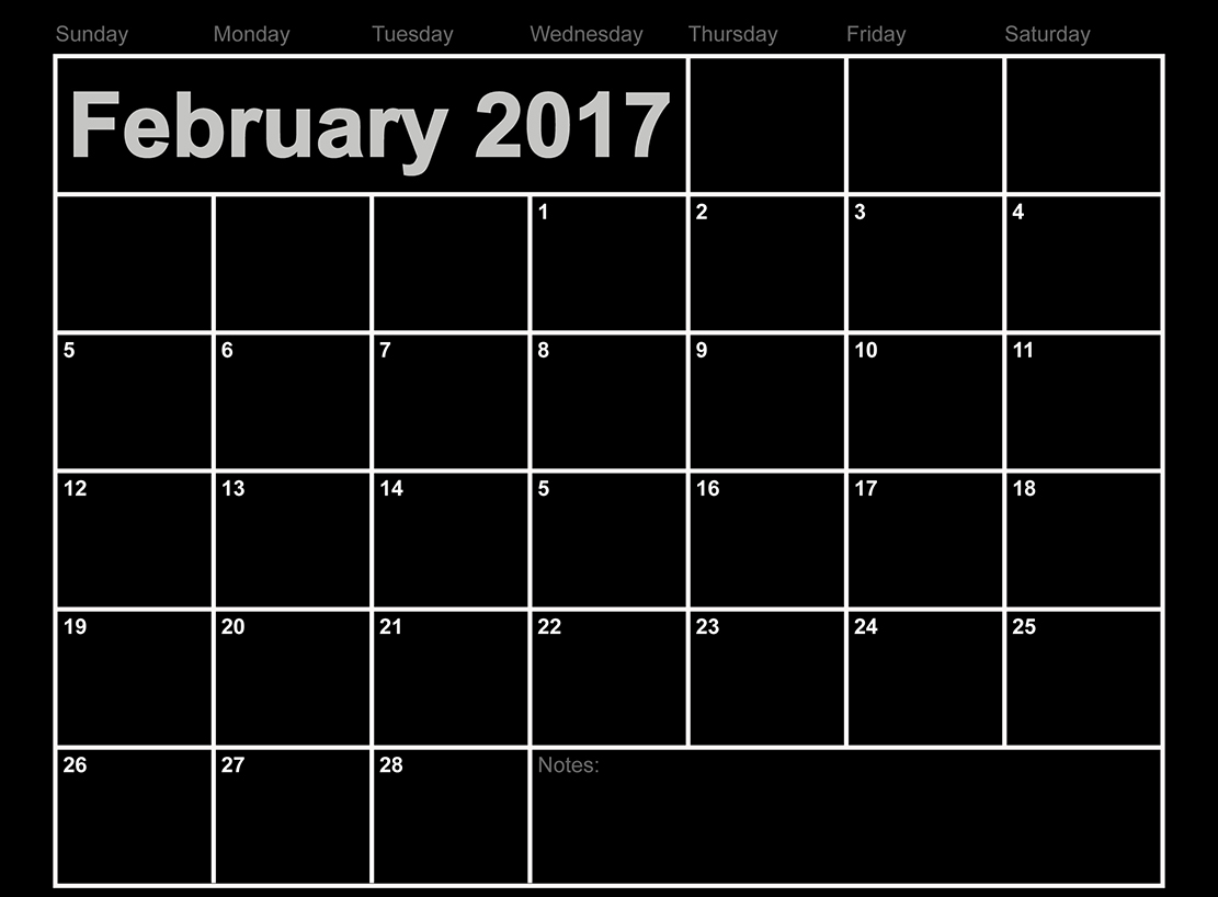 Download February 2017 calendar free