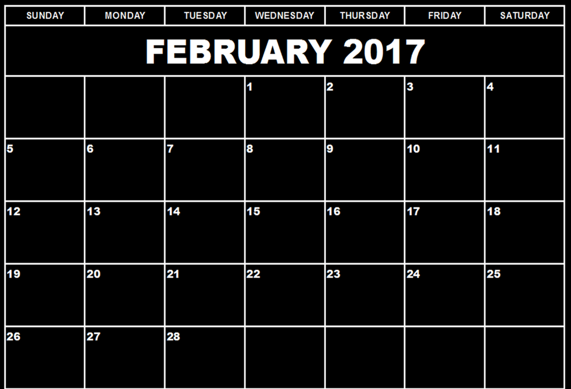Download February 2017 calendars