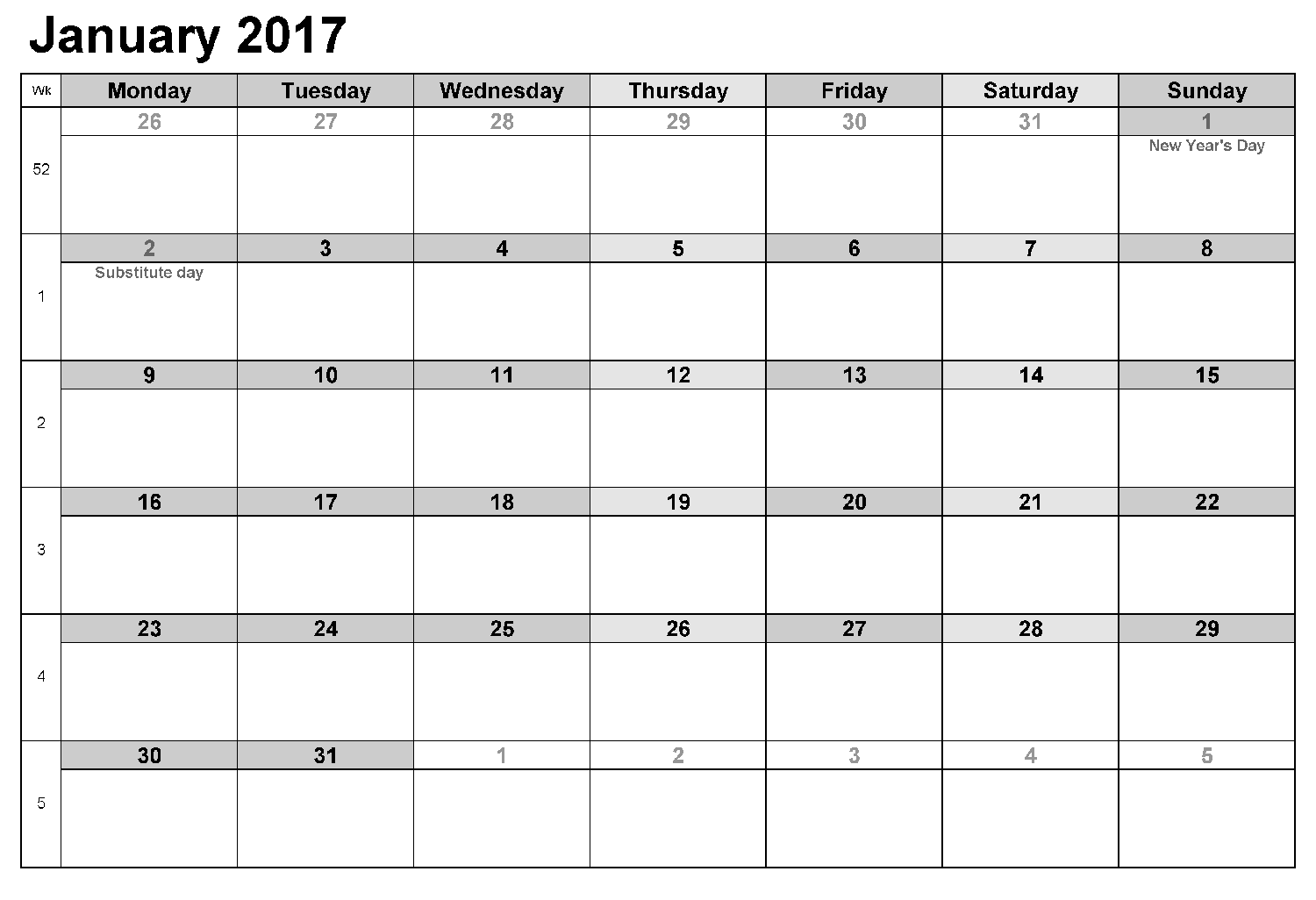 Download January 2017 calendar printable free with holidays list
