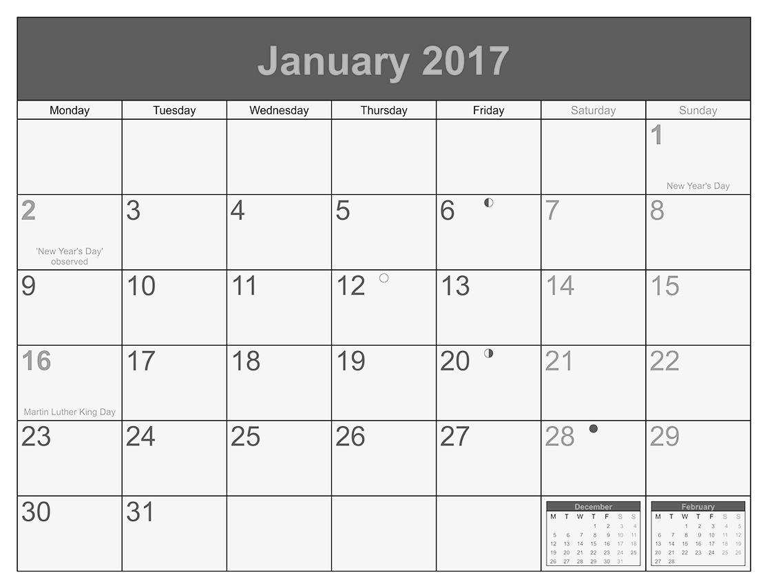 Download January 2017 calendar printable in landscape format