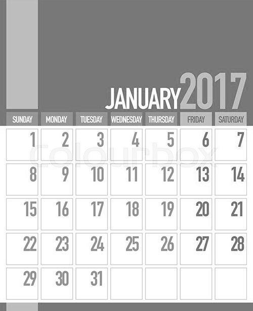 Download January 2017 calendar printable in portrait format