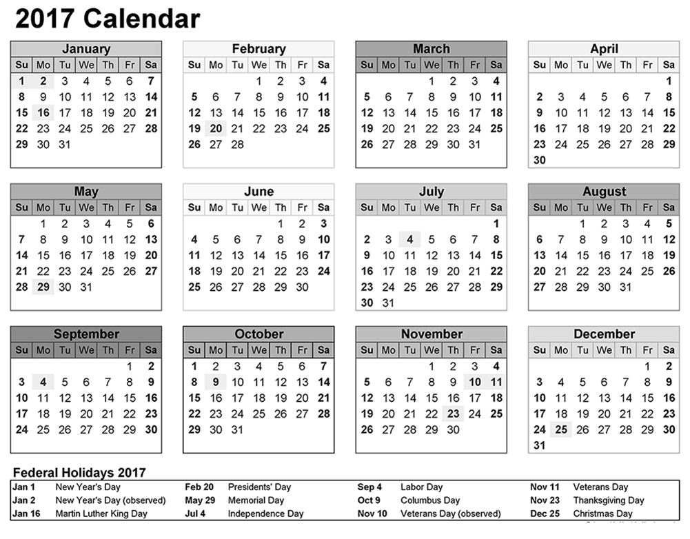 Download calendar 2017 Free with federal holidays list