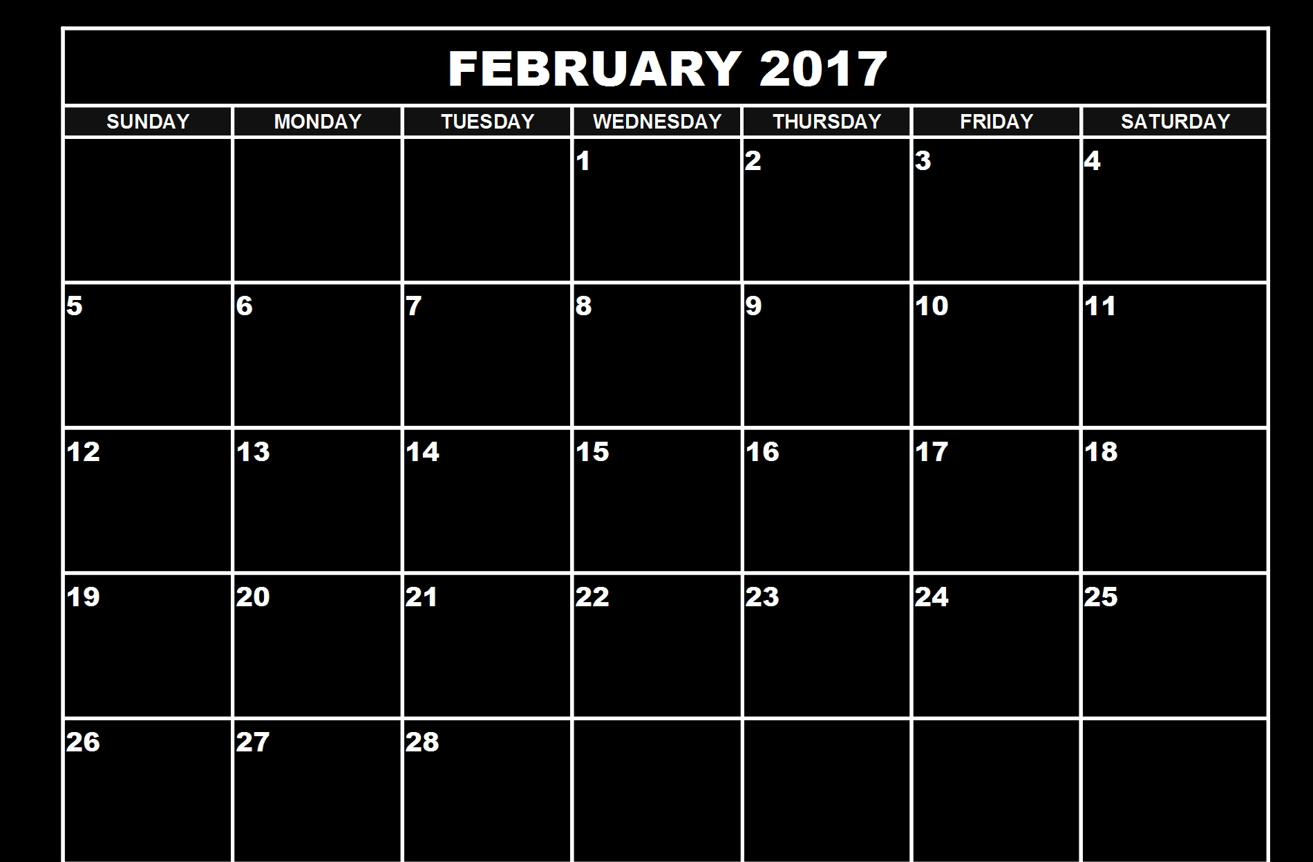 Download February 2017 calendar