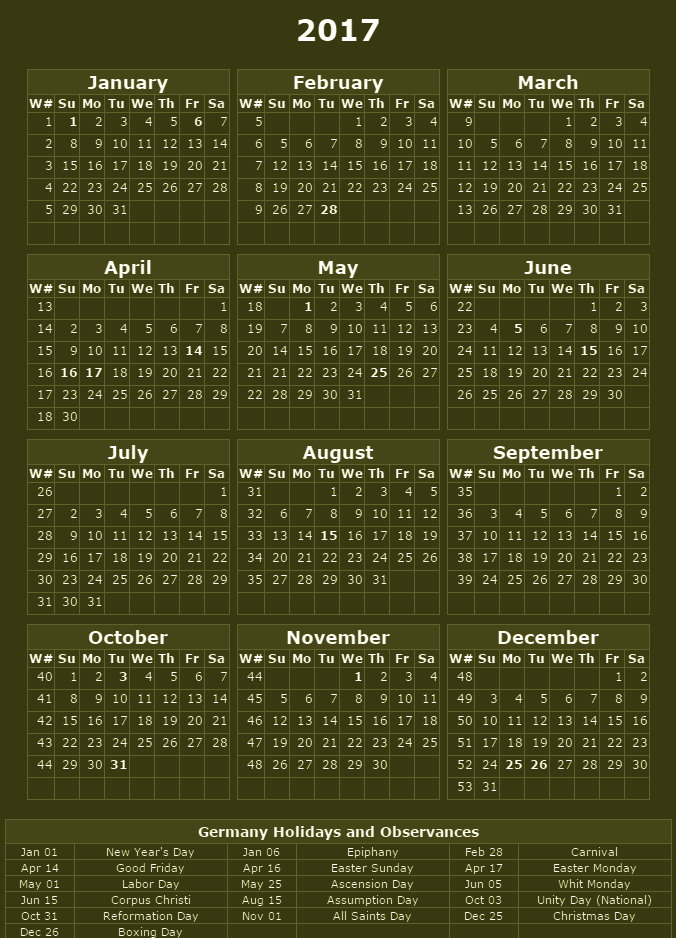 High resolution calendars