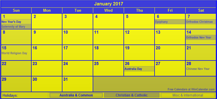 Download January 2017 calendar Australia