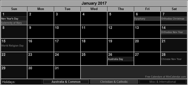 Small size January 2017 calendar Australia