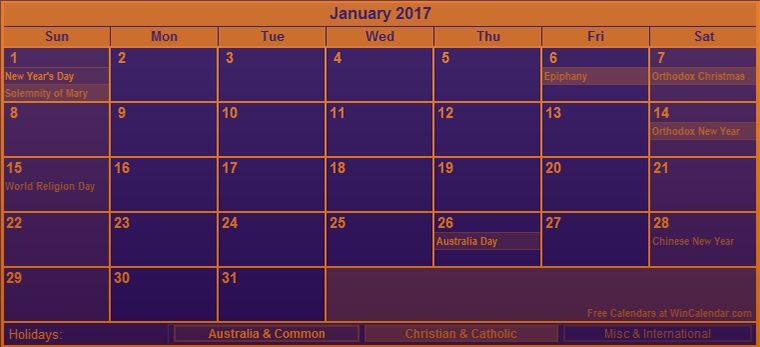 Colourful January 2017 calendar Australia