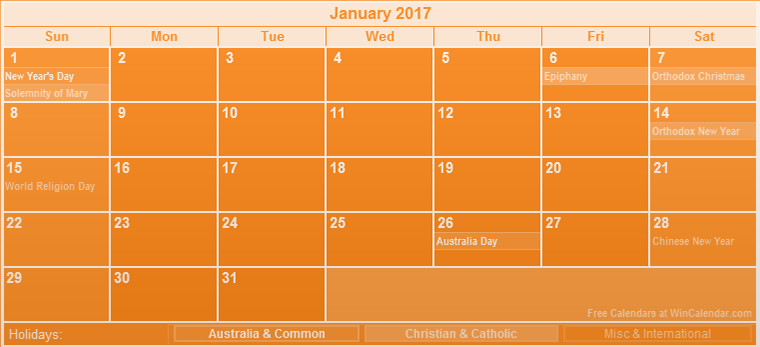 Beautiful January 2017 calendar Australia