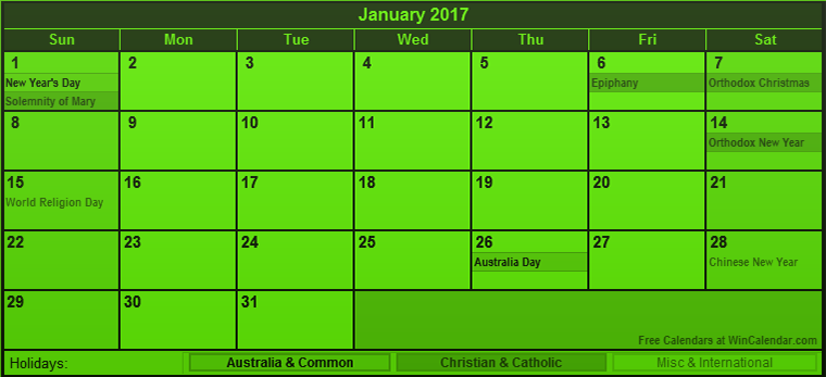 January 2017 calendar Australia holidays