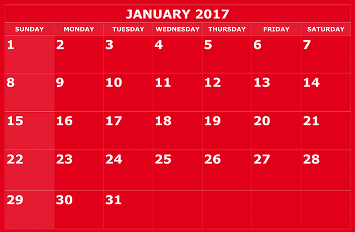 January 2017 calendar download
