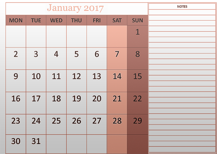 Free January 2017 calendar download