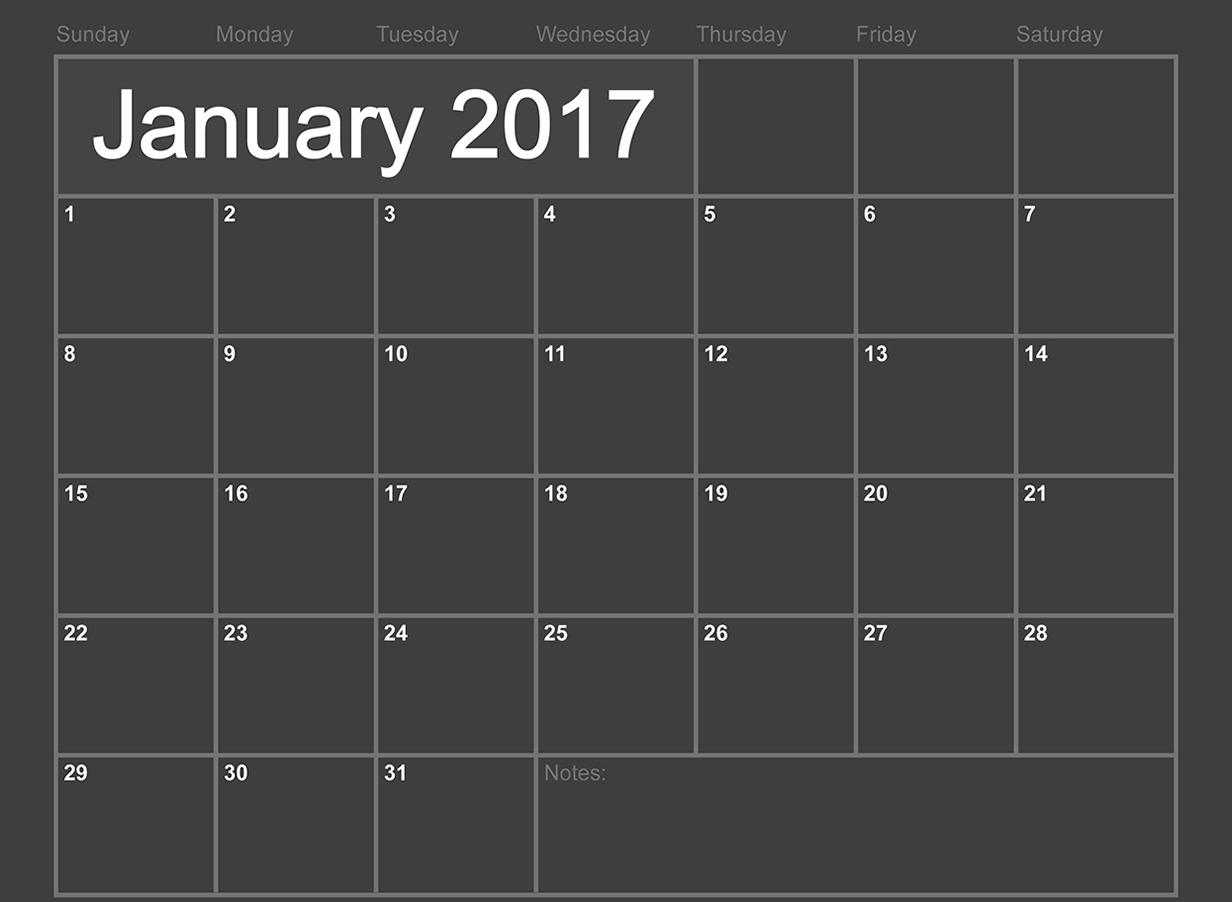 January 2017 monthly calendar