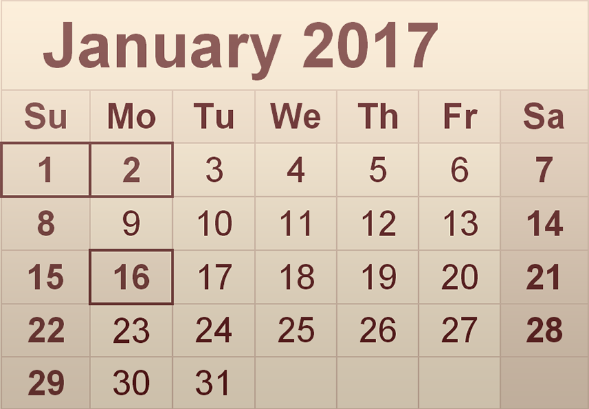 Download January 2017 monthly calendar