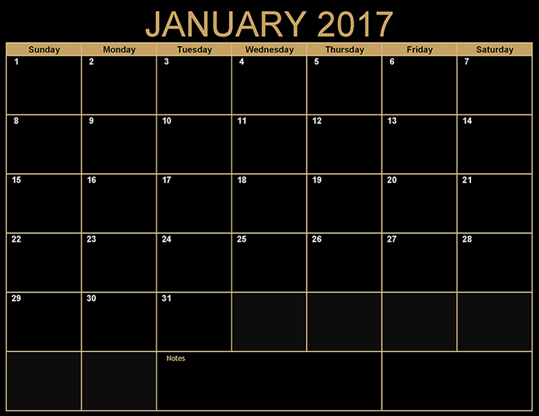 January 2017 monthly calendar free