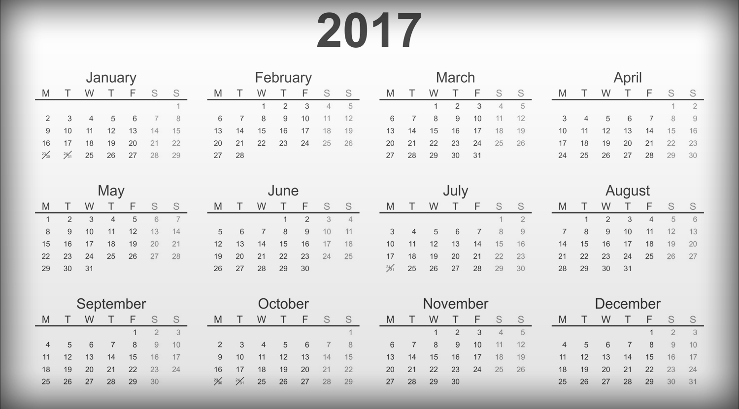 Download Printable Large calendar 2017 free in landscape orientation