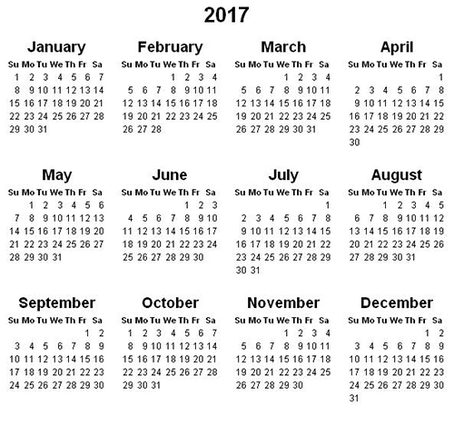 Calendar 2017 of high resolution for print