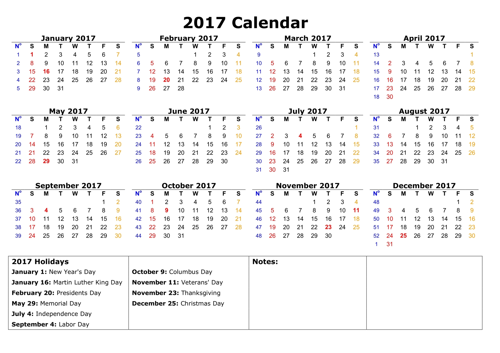 Download Printable 2017 calendar with holidays in USA