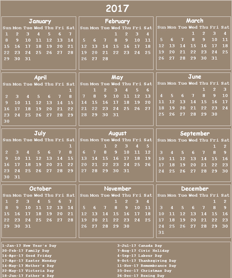 Canada 2017 calendar big | 2017 Calendar printable for ...